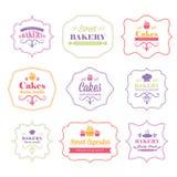 rétros labels de logo de boulangerie de vintage Photographie stock libre de droits