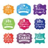 rétros labels de logo de boulangerie de vintage Images libres de droits