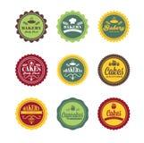 rétros labels de logo de boulangerie de vintage Photo libre de droits