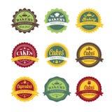 rétros labels de logo de boulangerie de vintage Photos libres de droits