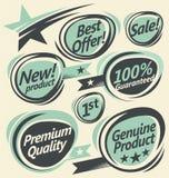 Rétros labels et collection d'autocollants illustration stock