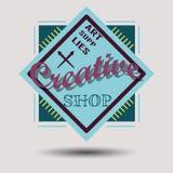 Rétros logotypes assortis d'insignes de conception de couleur Photos stock