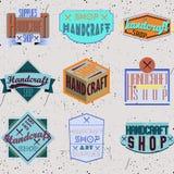 Rétros logotypes d'insignes de conception de couleur réglés Images libres de droits