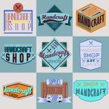Rétros logotypes d'insignes de conception de couleur réglés Photographie stock libre de droits