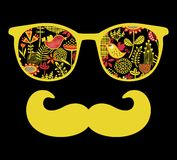Rétros lunettes de soleil avec la réflexion pour le hippie. Photos libres de droits
