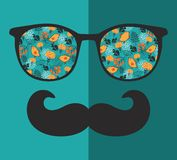Rétros lunettes de soleil avec la réflexion pour le hippie Images libres de droits