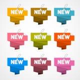 Rétros nouveaux labels de papier, étiquettes d'isolement sur le fond blanc Images stock