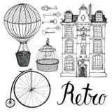 Rétros objets, maison et transport. Dessin et calligraphie de main Photos stock