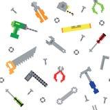 Rétros outils sans couture de construction de jeu de pixel Photographie stock libre de droits