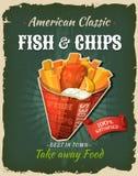 Rétros poissons et Chips Poster d'aliments de préparation rapide Image libre de droits