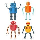 Rétros robots drôles d'isolement sur le backgroun blanc illustration stock