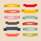 Rétros rubans, labels, étiquettes réglées Photo stock