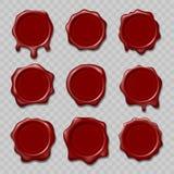 Rétros timbres de cire de joint Timbres pour le certificat et le document, lettre, enveloppe Protection et certification, garanti illustration stock