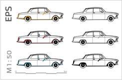 Rétros vieilles icônes de vecteur de voiture de BMW réglées pour le dessin et l'illustation architecturaux illustration de vecteur