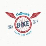 Rétros visites de bicyclette de vecteur et label de location ou Images stock