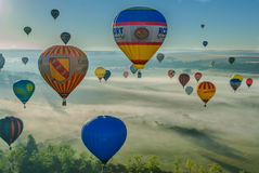 Réunion de ballon d'air chaud de Mondial en Lorraine France Images libres de droits