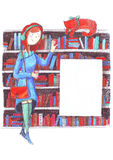 Réunion de fille et de chat dans une bibliothèque près des étagères Crayonnent l'illustration tirée par la main sur l'image color Photos libres de droits