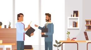 Réunion de Man Group d'affaires discutant travailler d'hommes d'affaires de bureau illustration stock