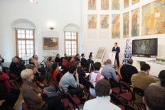 Réunion de nouveaux skiff au musée d'Andrei Rublev Image libre de droits