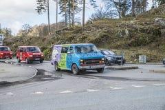 Réunion de Russe (pays se réunissant) à la forteresse 2015 (Russe-voiture) de Fredriksten Photos stock