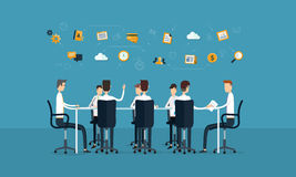 Réunion de travail d'équipe d'affaires de vecteur et concept d'échange d'idées illustration de vecteur