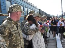 Réunion des militaires d'Ukrainien Images libres de droits
