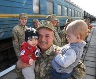 Réunion des militaires d'Ukrainien Photo libre de droits