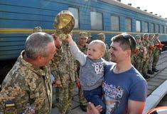 Réunion des militaires d'Ukrainien Image libre de droits
