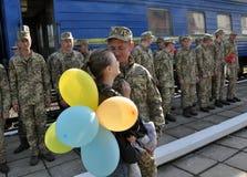 Réunion des militaires d'Ukrainien Photographie stock libre de droits