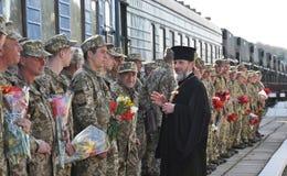 Réunion des militaires d'Ukrainien Image stock