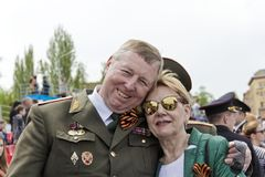 Réunion des vieux amis sur la célébration sur Victory Day annuelle, mai Photos stock