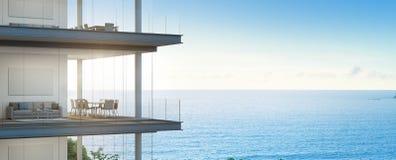Réunion et salon de vue de mer dans le bureau moderne, bâtiment avec l'intérieur de luxe illustration stock