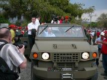 Réunion Hugo Chavez et Lukashenko Images stock