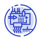 Réunissez, adaptez aux besoins du client, l'électronique, ingénierie, ligne pointillée bleue ligne icône de pièces illustration libre de droits