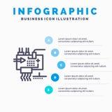 Réunissez, adaptez aux besoins du client, l'électronique, ingénierie, pièces rayent l'icône avec le fond d'infographics de présen illustration libre de droits