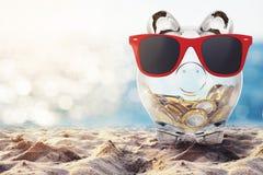 Réunissez l'argent pour les vacances rendu 3d Photos libres de droits