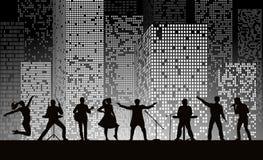 Réunissez l'exposition sur le fond de ville de nuit au style gris Concept de festival illustration stock