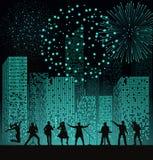 Réunissez l'exposition sur le fond de ville de nuit avec le fireshow au style de turquoise Concept de festival illustration de vecteur