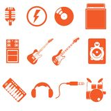 Réunissez la musique d'icône de jeu avec le style orange gentil de couleur Photographie stock