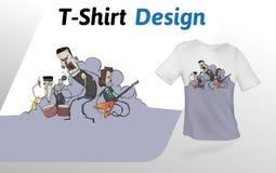 Réunissez le basculage sur l'étape dans la fumée, copie de T-shirt Moquerie vers le haut de calibre de conception de T-shirt Cali illustration stock