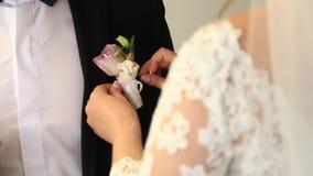 Réunissez-vous d'abord sur le mariage Premiers marié et jeune mariée de regard banque de vidéos
