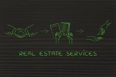 Réunissez-vous, signez le contrat, obtenez la maison : services d'immobiliers illustration libre de droits