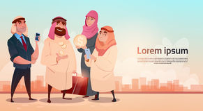 Réussite commerciale d'extraction de l'huile de Rich Arab Businessman With Wife illustration stock