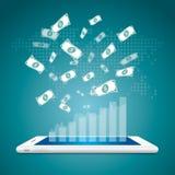 Réussite dans le concept d'affaires L'argent tombent vers le bas avec le graphique de gestion illustration de vecteur