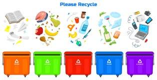 Réutilisation des éléments de déchets Le sac ou les récipients ou les boîtes pour différent trashes En assortissant et utilisez l illustration stock