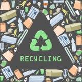 Réutilisation du diagramme avec des déchets et inscription Photo stock