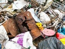 Réutilisation du fond matériel mélangé d'ordure photographie stock libre de droits