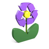Réutilisation du symbole sur la fleur Photo stock