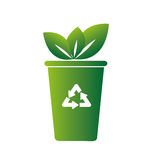 Réutilisez l'icône de symbole d'écologie de poubelle Image stock