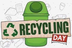 Réutilisez la poubelle avec le carton réutilisé pour réutiliser la célébration de jour, illustration de vecteur illustration stock